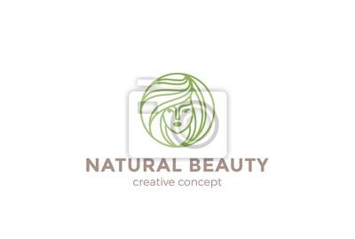 Beauté Salon De Coiffure Femme Logo Design Vecteur Cercle Peintures
