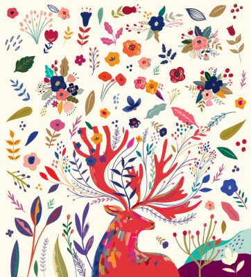 Beautiful creative art work illustration with flowers and deer