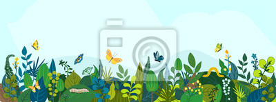 Image Beautiful floral background, panorama. Leaves, colorful flowers, caterpillars, butterflies. Bright spring and summer banner for cover social network, invitation, wedding, holiday. Vector illustration.