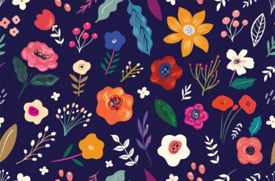 Beautiful flower seamless pattern with roses, leaves, flower compositions.