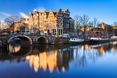 Image Beautiful image of the UNESCO world heritage canals the 'Brouwersgracht' en 'Prinsengracht (Prince's canal)' in Amsterdam, the Netherlands