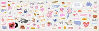 Image Beautiful love stickers with Valentines day elements and quotes. Romantic cartoon image and trendy lettering. Vector hand drawn flat illustrations, sign, objects for planner and organizer.