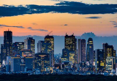 Image Beautiful Silhouette of Tokyo Skyline at Twilight
