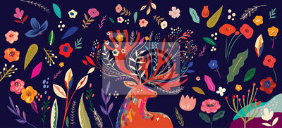Beautiful spring creative art work illustration with flowers and deer