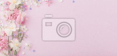 Image beautiful spring flowers on paper background