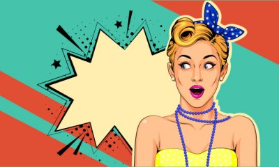 Image Beautiful surprised pin up girl vector illustration in pop art style