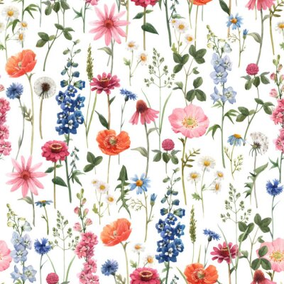 Image Beautiful vector floral summer seamless pattern with watercolor hand drawn field wild flowers. Stock illustration.