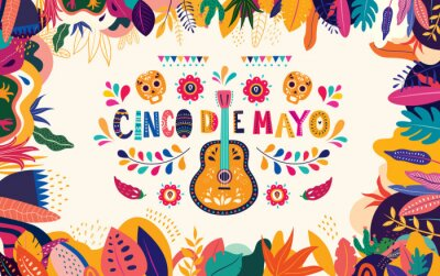 Beautiful vector illustration with design  for Mexican holiday 5 may Cinco De Mayo. Vector template with traditional Mexican symbols: Mexican guitar, flowers, red pepper, skull