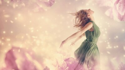Image Beautiful woman in a pink peony flower fantasy