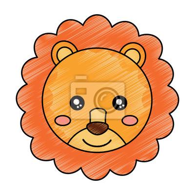 Bebe Mignon Animal Lion Tete Illustration Vectorielle Dessin