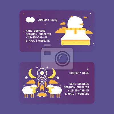 Bedroom supplies set of business cards vector illustration. Bed with pillows in night sky among clouds, stars and moon. Night equipment concept. Dream catcher, sleeping mask.