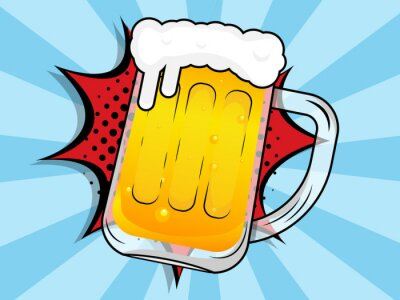 Image beer mug with boom comic book, pop art