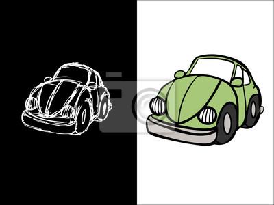 Beetle Voiture Sketch Et Couleur Dessin Peintures Murales Tableaux