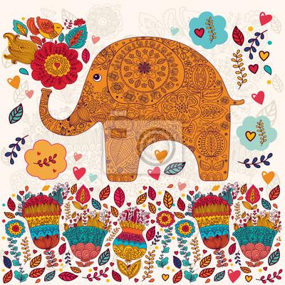 Belle carte de vecteur avec des fleurs et des éléphants