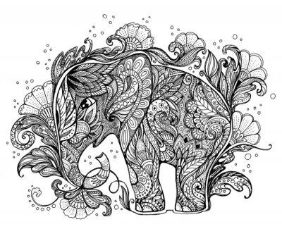 Image Belle éléphant peint à la main avec l'ornement floral