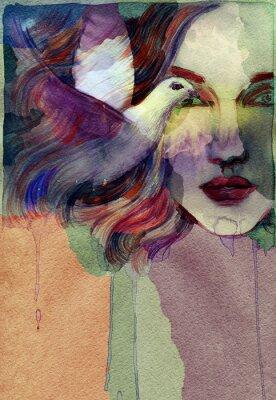 Image Belle femme. illustration d'aquarelle