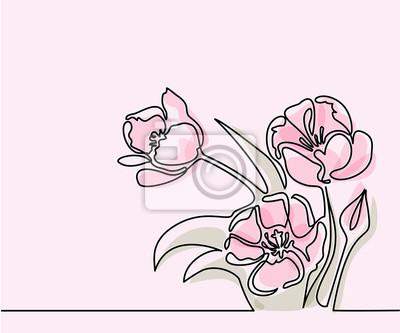 Image Belle Fleurs De Tulipes Roses De Couleur Douce Dessin Linéaire