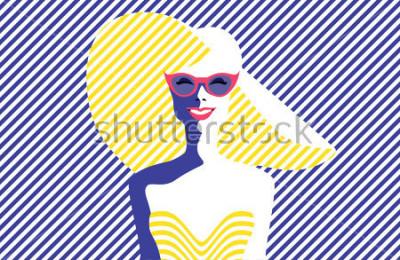 Image Belle jeune femme avec des lunettes de soleil et chapeau, style rétro. Pop Art. Vacances d'été. Illustration de vecteur eps10