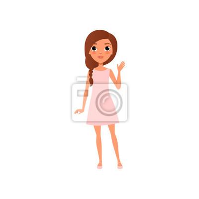Image Belle Jeune Fille Aux Cheveux Bruns Portant La Petite Robe Rose