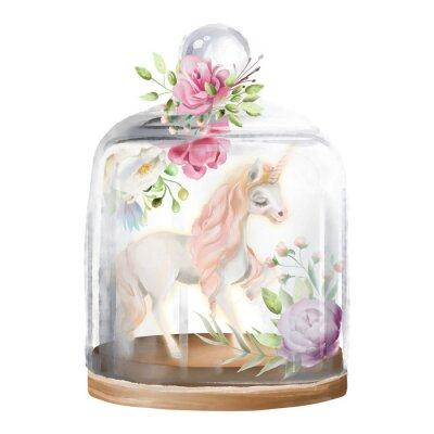 Image Belle licorne, cheval magique et fleurs dans un bocal en verre. Illustration aquarelle fantaisie isolée sur blanc