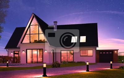 Belle Maison Contemporaine De Nuit Avec Eclairage Peintures Murales Tableaux Lotissement Debarque Promoteur Myloview Fr