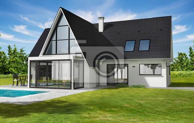Belle Maison Contemporaine Moderne Avec Veranda Et Piscine Peintures