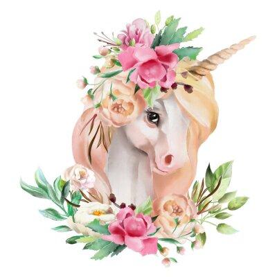 Image Belle, mignon, tête de licorne aquarelle avec des fleurs, couronne florale, bouquet isolé sur blanc