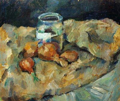 Image Belle peinture à l'huile originale de la nature morte. Ampoule de point sur des tissus Sur toile dans des couleurs jaunes et bleues dans le style de l'impressionnisme