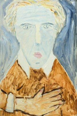 Image Belle peinture à l'huile originale du portrait d'un homme en couleurs orange et gris Sur Toile