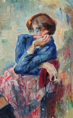 Image Belle peinture à l'huile originale du portrait d'une femme couleurs vives Sur Toile dans le style Impressionnisme