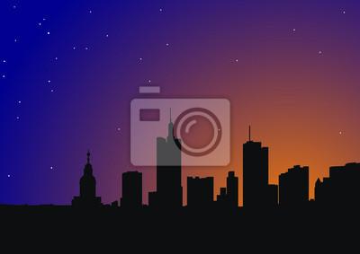 Belle silhouette de la ville sur un fond de ciel de nuit avec les étoiles