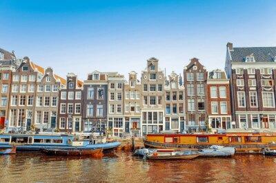 Image Belle vue sur les canaux avec pont et typique hollandais Amsterdam
