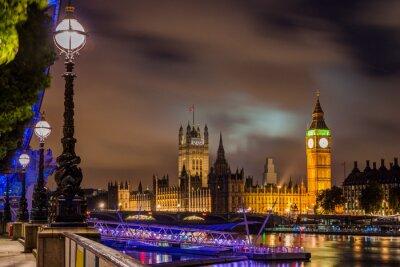 Image Big Ben et Westminster Bridge de nuit, Londres, Royaume-Uni