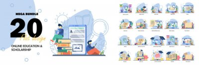 Image Big Set Education vector illustration. Online education, scholarship, back to school, Online Book, Webinar, Online Class, Achievement trophy.flat design style vector graphic illustration set