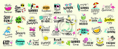 Image Big set of Summer labels, logos, hand drawn tags and elements for summer holiday, travel, beach vacation, sun. Vector illustration.