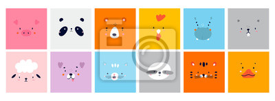 Image Big Set of Various Cute Animal faces without outline. Funny cartoon Muzzles. Colorful Hand drawn Vector square illustrations. All elements are isolated