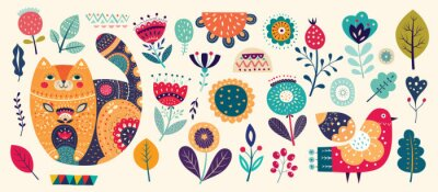 Big spring collection with flowers, leaves, bird, cat and spring symbols and decorative elements