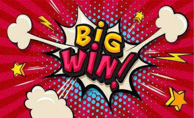 Image Big Win! Pop art cloud bubble. Funny speech shopping sale icon bubble. Trendy Colorful retro vintage comic background in pop art retro comic style. Illustration easy editable for Your design.