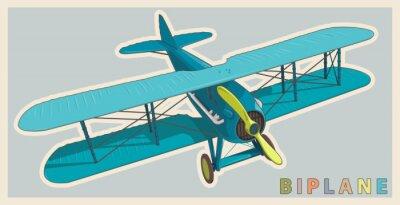 Image Biplan bleu en stylisation vintage et en couleur. Hélice modèle avec deux ailes. Ancien avion rétro conçu pour l'impression d'affiches. Magnifiquement et réaliste tiré vecteur biplan de vol.