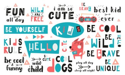Image Black and white and colored set of hand drawn motivation quotes, phrases and words. Graphic design for t-shirt print, posters, greeting cards. Vector illustration. Cool dogs theme.