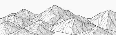 Image Black and white mountain line arts wallpaper, luxury landscape background design for cover, invitation background, packaging design, fabric, and print. Vector illustration.