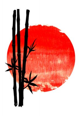 Image Black silhouette of bamboo plants on big red sun