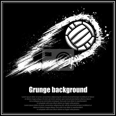 Image Black square poster with grunge movement waterpolo ball and sample text
