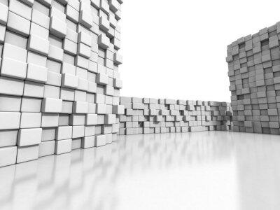 Image Blanc, cubes, mur, 3D, fond