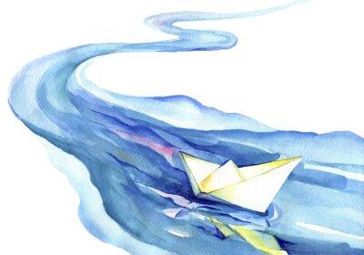 Image Blanc, papier, bateau, flotter, eau Peinture à l'aquarelle de la rivière et du navire sur un fond blanc.