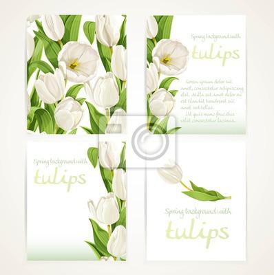 Image Blanc, tulipes, quatre, vertical, blanc, bannières, ensemble, blanc, backg