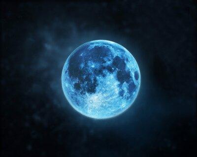 Image Bleu atmosphère de la pleine lune au ciel de la nuit fond sombre, éléments de cette image fournies par la NASA