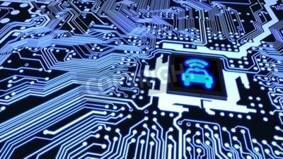 Image Bleu circuit imprimé closeup connecté à un cpu avec un symbole wifi de voiture rougeoyant sur illustration vectorielle de haut véhicule intelligent concept