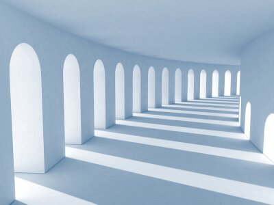 Image Bleu colonnade avec des ombres profondes. Illustration
