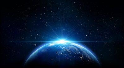 Image bleu lever du soleil, vue de la Terre depuis l'espace